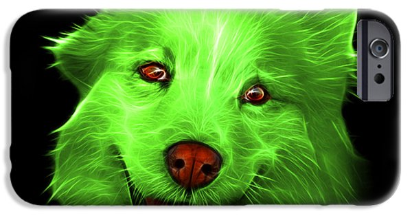 Mixed Labrador Retriever Paintings iPhone Cases - Green Siberian Husky Mix Dog Pop Art - 5060 BB iPhone Case by James Ahn