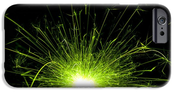 Sparkling iPhone Cases - Green Sparkle iPhone Case by Samuel Whitton