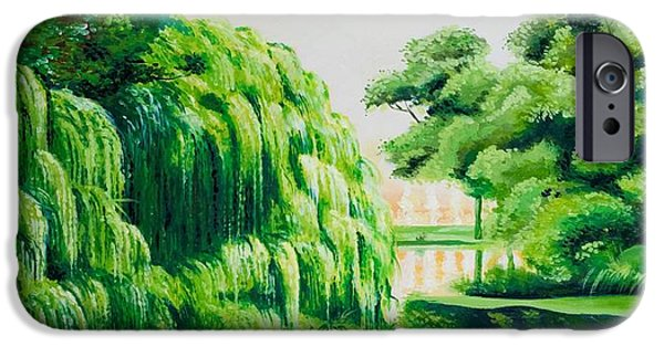 Willow Lake Paintings iPhone Cases - Green swamp iPhone Case by Luigi Maria De Rubeis