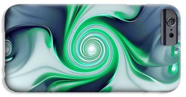 Silver iPhone Cases - Green Swirls iPhone Case by Anastasiya Malakhova