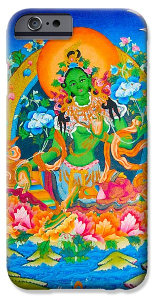 Hindu Goddess iPhone Cases - Green Tara 12 iPhone Case by Lanjee Chee