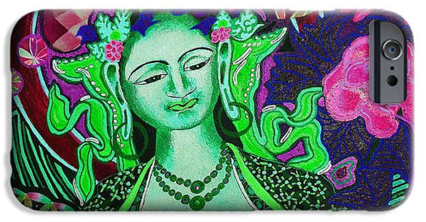 Tibetan Buddhism Mixed Media iPhone Cases - Green Tara Flower of Life iPhone Case by Kevin J Cooper Artwork