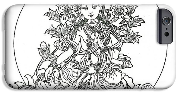 Buddhism Drawings iPhone Cases - Green Tara iPhone Case by Karma Moffett