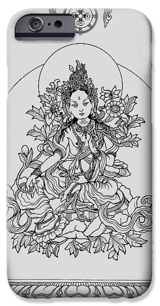 Buddhism Drawings iPhone Cases - Green Tara with Border iPhone Case by Karma Moffett