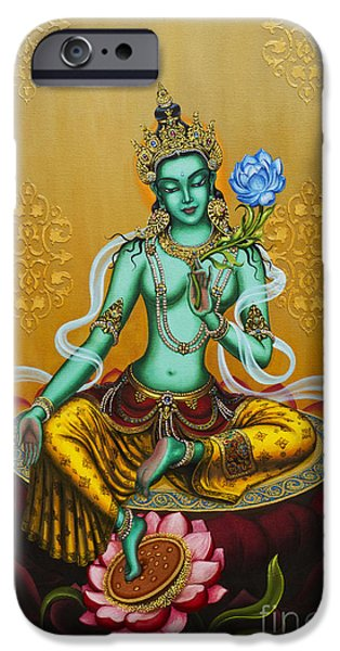 Best Sellers -  - Tibetan Buddhism iPhone Cases - Green Tara iPhone Case by Yuliya Glavnaya