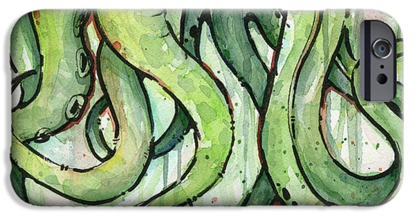 Tentacles iPhone Cases - Green Tentacles iPhone Case by Olga Shvartsur