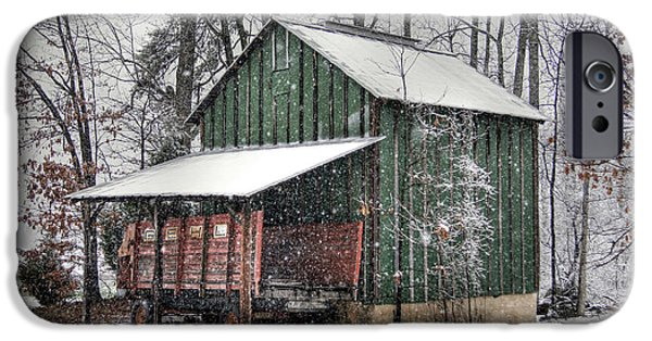 Barns In Snow iPhone Cases - Green Tobacco Barn iPhone Case by Benanne Stiens