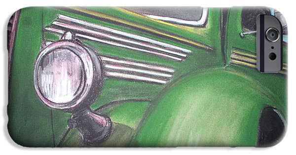 Automotive Pastels iPhone Cases - Green Truck iPhone Case by Michael Foltz
