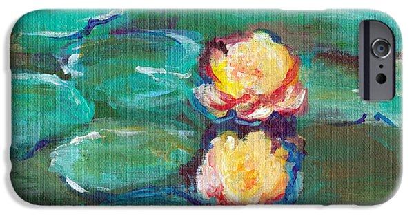 Alga Paintings iPhone Cases - Green Water Lilies iPhone Case by Lauren Heller