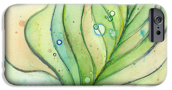 Texture iPhone Cases - Green Watercolor Bubbles iPhone Case by Olga Shvartsur
