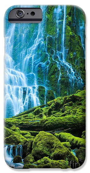 Log iPhone Cases - Green Waterfall iPhone Case by Inge Johnsson