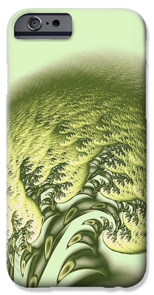 Waves Digital Art iPhone Cases - Green Wave iPhone Case by Anastasiya Malakhova