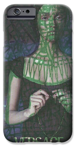 Circuit Drawings iPhone Cases - Green Web Pop Graffiti Model iPhone Case by Edward X