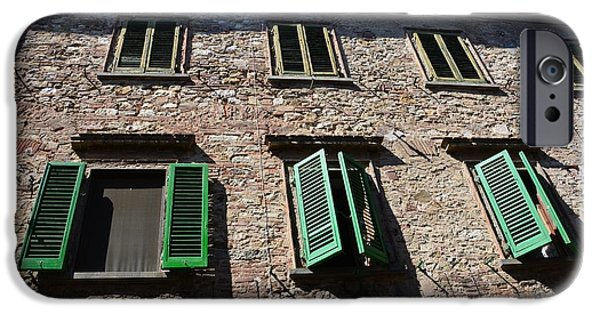 Ledge iPhone Cases - Green Windows in Tuscany iPhone Case by Ramona Matei