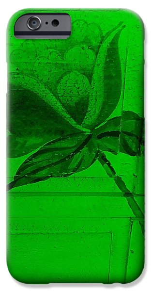 Botanic Illustration Digital Art iPhone Cases - Green Wood Flower iPhone Case by Rob Hans