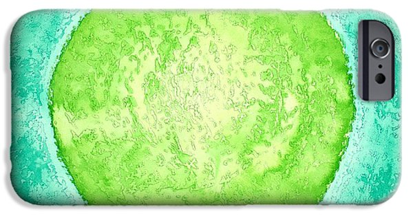 Printmaking iPhone Cases - Green World original painting iPhone Case by Sol Luckman