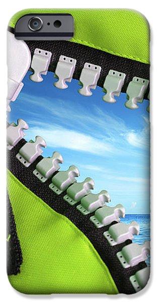 Green Zipper iPhone Case by Carlos Caetano