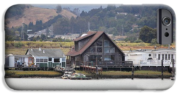 Sausalito iPhone Cases - Greenbrae California Boathouses At The Base of Mount Tamalpais 5D29347 iPhone Case by Wingsdomain Art and Photography