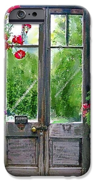 Rainy Day Mixed Media iPhone Cases - Greenhouse door iPhone Case by Craig Nelson