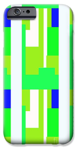 Multimedia iPhone Cases - Greens and White Blue Recs iPhone Case by Tina M Wenger
