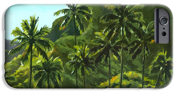 Hawaii Islands iPhone Cases - Greens of Kahana iPhone Case by Douglas Simonson