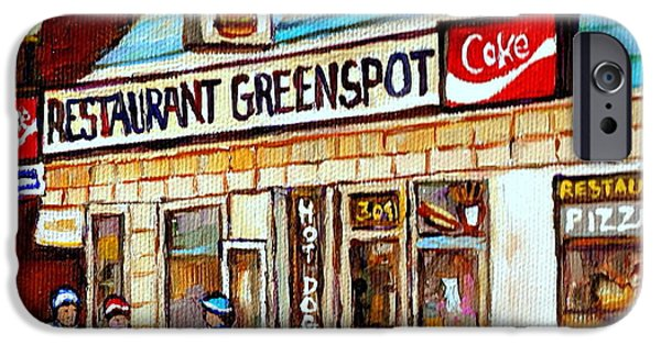Restaurant Greenspot iPhone Cases - Greenspot Restaurant Notre Dame Street  South West Montreal Paintings Winter Hockey Scenes St. Henri iPhone Case by Carole Spandau