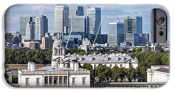 Naval College iPhone Cases - Greenwich and Canary Wharf iPhone Case by Gill Billington