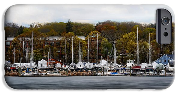 Park Scene iPhone Cases - Greenwich Harbor iPhone Case by Lourry Legarde
