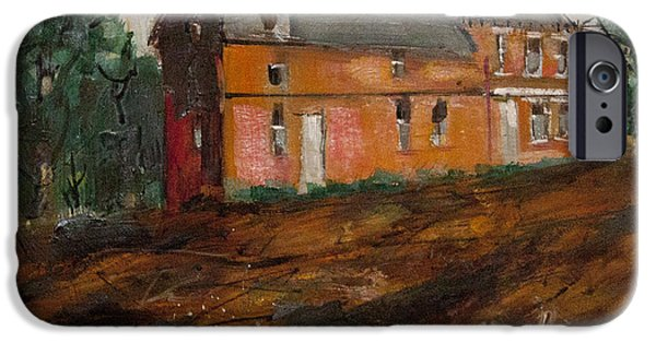 Haunted House Paintings iPhone Cases - Greenwich Mansion iPhone Case by Chuck Hayden
