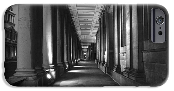 Naval College iPhone Cases - Greenwich Royal Naval College HDR BW iPhone Case by David French