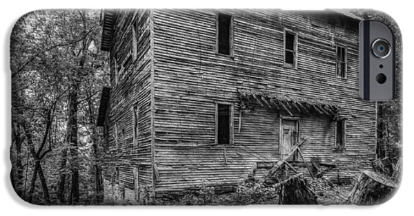 Arkansas iPhone Cases - Greer Mill Black and white iPhone Case by Paul Freidlund