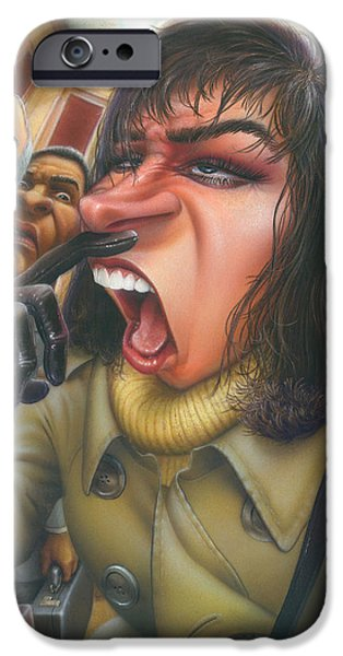 Airbrush iPhone Cases - Greeting Card Flu Season Woman About To Sneeze iPhone Case by Walt Curlee