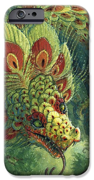 Recently Sold -  - Serpent iPhone Cases - Greeting the Quetzalcoatl iPhone Case by Jaimie Whitbread