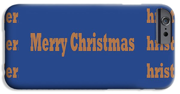 Christmas Greeting iPhone Cases - Greetingss Occasions Merry Christmas  decorative text for Posters and POD products like throw pillow iPhone Case by Navin Joshi