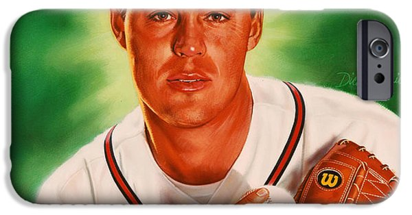 Young Paintings iPhone Cases - Greg Maddux iPhone Case by Dick Bobnick