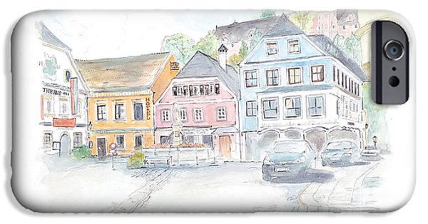 City Scape iPhone Cases - Courtyard in Grein Austria iPhone Case by Joan Sharron