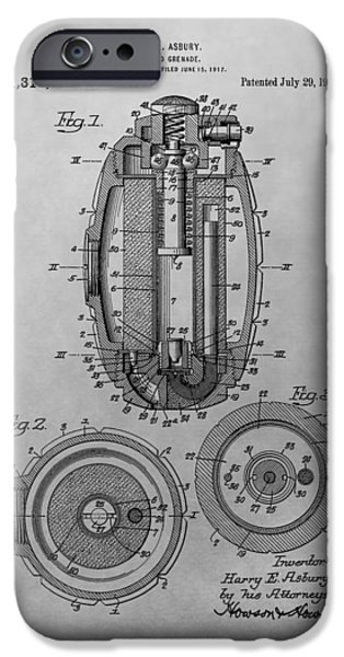 Weapon Drawings iPhone Cases - Grenade Patent Drawing iPhone Case by Dan Sproul