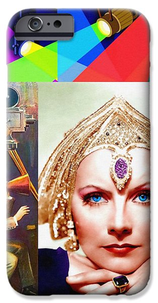 The Blue Face iPhone Cases - Greta Garbo in Mata Hari iPhone Case by Art Cinema Gallery
