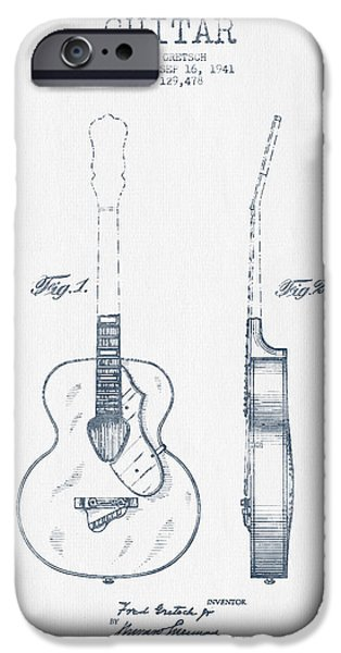 Guitar Strings iPhone Cases - Gretsch guitar patent Drawing from 1941 - Blue Ink iPhone Case by Aged Pixel