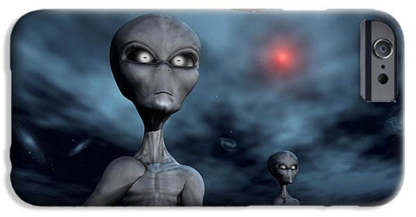 Strange iPhone Cases - Grey Aliens And Their Flying Saucer iPhone Case by Mark Stevenson