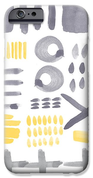 Sun Shade iPhone Cases - Grey and Yellow Shapes- abstract painting iPhone Case by Linda Woods