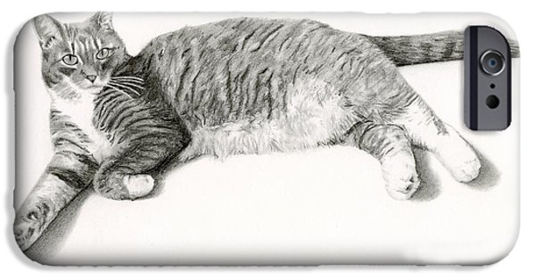 Cat Prints Drawings iPhone Cases - Grey Cat- Frieda iPhone Case by Sarah Batalka