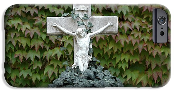 Proliferate iPhone Cases - Grey marmoreal cross with trailing ivy iPhone Case by Angela Kail