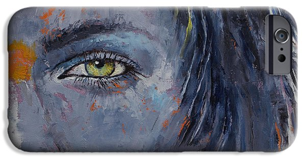 Gray Hair Paintings iPhone Cases - Grey iPhone Case by Michael Creese
