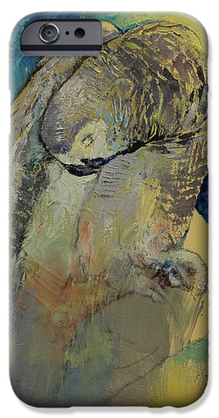 Michael Paintings iPhone Cases - Grey Parrot iPhone Case by Michael Creese