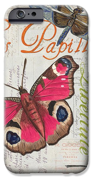 Butterflies Paintings iPhone Cases - Grey Postcard Butterflies 1 iPhone Case by Debbie DeWitt
