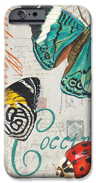 Dragonfly iPhone Cases - Grey Postcard Butterflies 2 iPhone Case by Debbie DeWitt