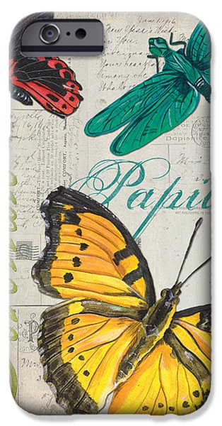 Dragonfly iPhone Cases - Grey Postcard Butterflies 3 iPhone Case by Debbie DeWitt