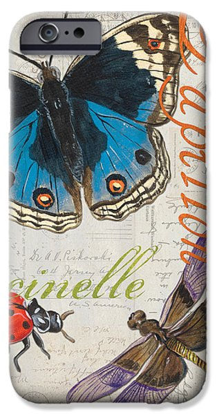 Dragonfly iPhone Cases - Grey Postcard Butterflies 4 iPhone Case by Debbie DeWitt
