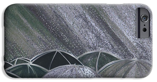 Rainy Day Mixed Media iPhone Cases - Grey Rain 2 by jrr iPhone Case by First Star Art